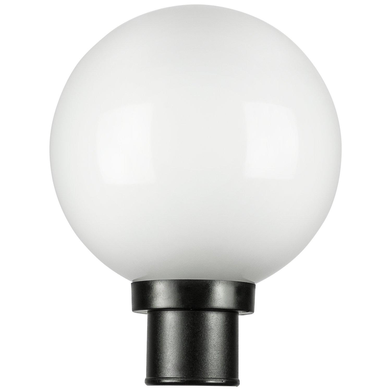 Sunlite DOD/10GL/BK/WH/MED 10'' Decorative Outdoor Twist Lock Globe Polycarbonate Post Fixture, Black Finish, White Lens, 3'' Post Mount (Not Included), 10''