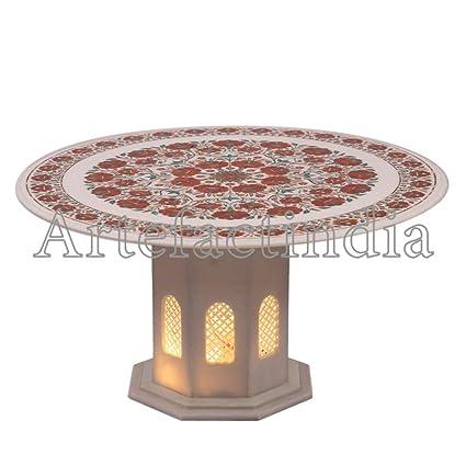 Amazoncom Artefactindia Round Coffee Table Top White Marble Inlaid