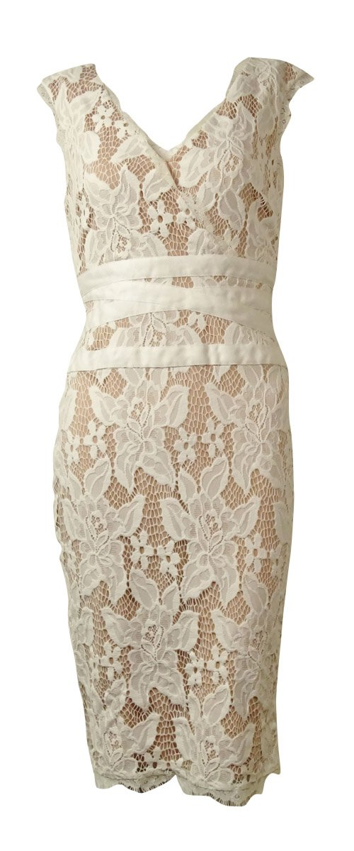 Adrianna Papell Women's Scalloped V-Neck Lace Sheath Dress (2, Ivory)