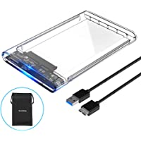 ELUTENG 2.5 inch SSD Enclosure Transparent USB3.0 5Gbps Support UASP High Speed Hard Drive Caddy SATA 3.0 Portable HDD Caddy Compatible for Windows PC Laptop PS4 XBox etc