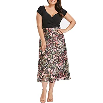 Wawer Chiffon Dresses for Women, Summer Plus Size Short Sleeve Flowers Print Formal Prom Evening