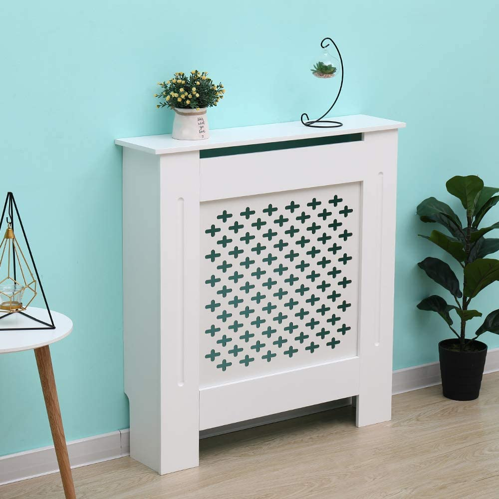 AVC Designs Kensington Radiator Cover Modern MDF Wood White Cross Pattern Living Room Bedroom Hallway Cabinet (Small White)