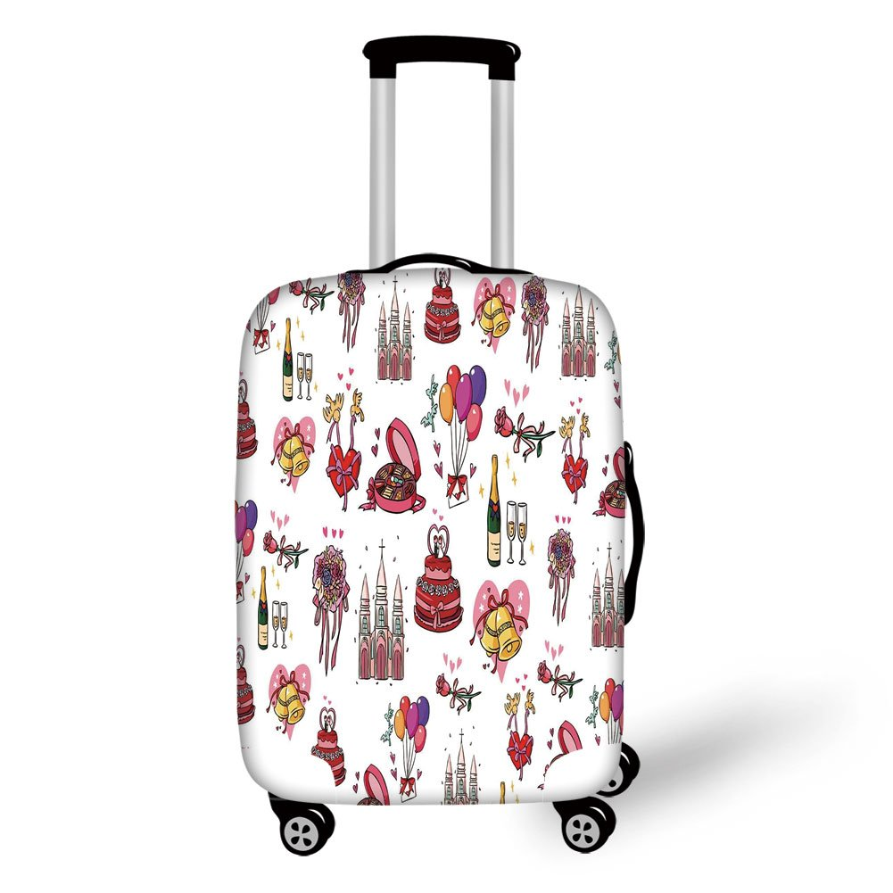 Travel Luggage Cover Suitcase Protector,Wedding Decorations,Wedding Collection Cake Bridal Bouquet Bells Hearts Birds Ceremony Art,Multicolor,for Travel