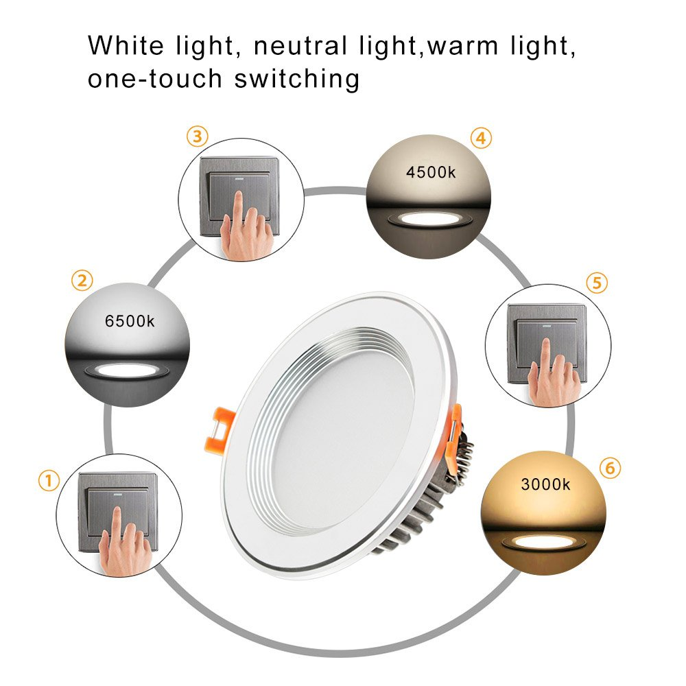 Betorcy 3 Colors Changing LED Downlight, White / Neutral / Warm , 3 Inch Ceiling Light, CRI80+, 4W ( 30W Equivalent ), Retrofit Recessed Panel Trim Fixture, Pack of 4