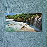alsoeasy fitness towel Jogan View in Java Indonesia Tropical Seashore Scenery Green White and Brown No Fading Multipurpose L27.5 x W13.8 INCH