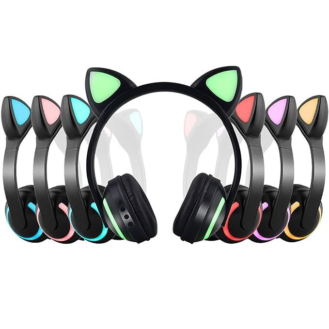 cfa89723c9f Wireless Bluetooth Cat Ear Headphone with 7 Colors LED Light Flashing  Glowing Earphones On-Ear