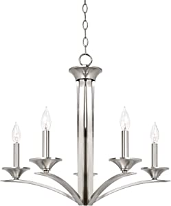 "Kira Home Lillie 25"" Contemporary 5-Light Chandelier Lighting Fixture, Adjustable Hanging Height, Brushed Nickel Finish"
