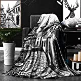 Unique Custom Double Sides Print Flannel Blankets Wanderlust Decor By Old Peaceful City Drawing Restaurant Terrace Sketch Downtown Lifes Super Soft Blanketry for Bed Couch, Twin Size 60 x 70 Inches