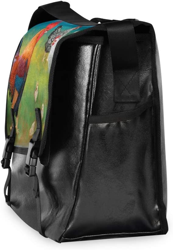 for Men Women Student Laptop Computer Casual Canvas Satchel Navy Traveling Camping Farm Chicken Cock Hen Shoulder Bag Messenger Bag