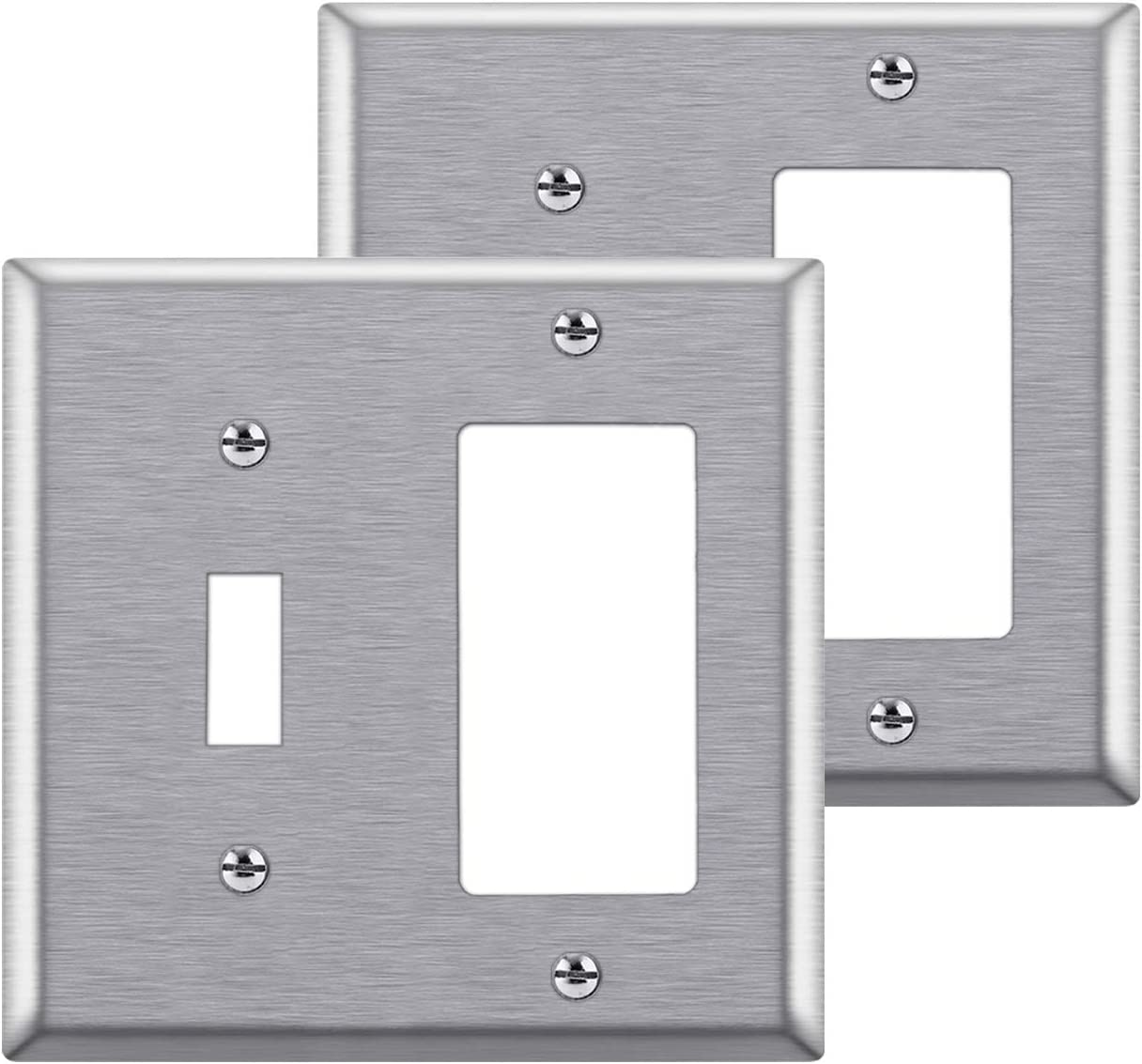 [2 Pack] BESTTEN 2-Gang Combination Metal Wall Plate, 1-Toggle/1-Decor, Standard Size, Anti-Corrosion Stainless Steel Outlet and Switch Cover, UL Listed, Silver