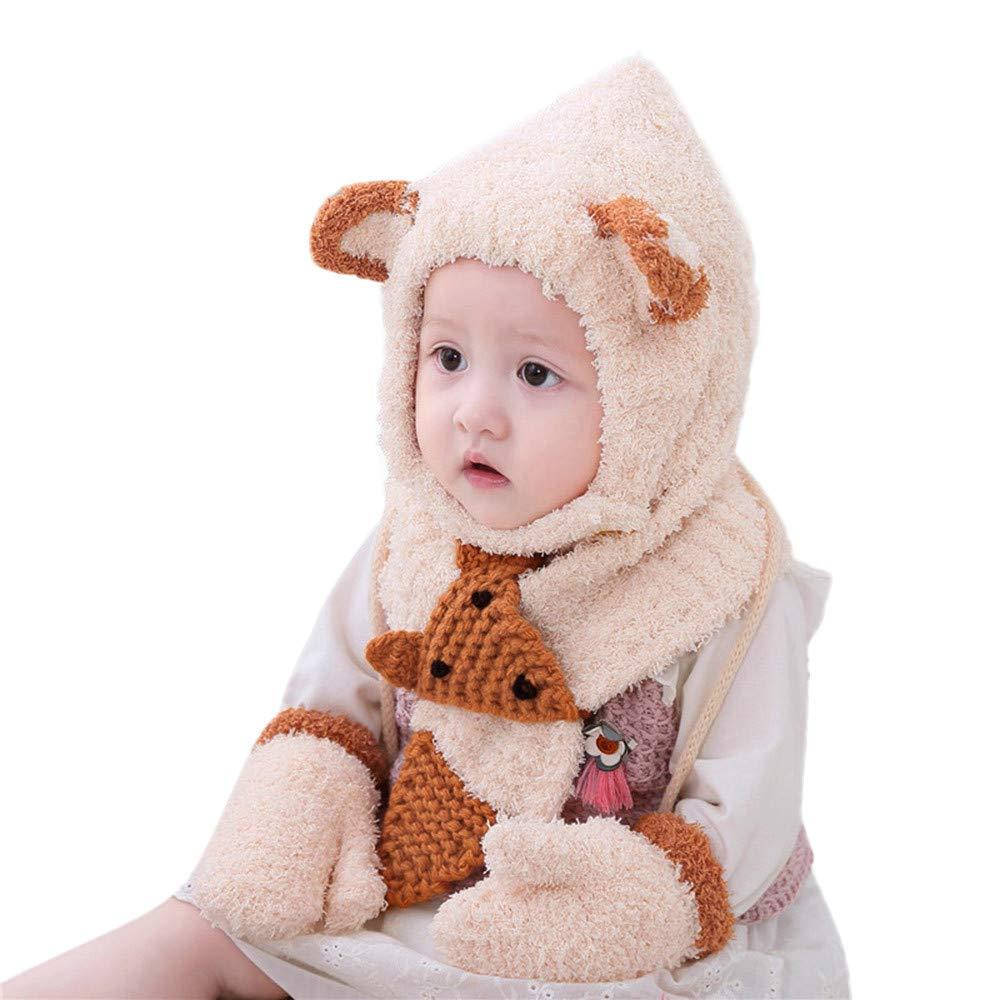 Cinnamou Baby Gloves,3PCs Toddler Kids Girls Boys Winter Cartoon Fox Style Warm Thicken Knit Hat Beanie Cap Scarf Gloves Set
