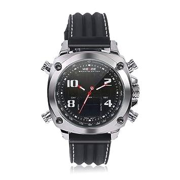 LoveOlvidoE Hombres de Moda Relojes de Pulsera Famosos Correa de Silicona analógico de Cuarzo de los Hombres Digital Fecha Alarma Cronómetro Pantalla: ...