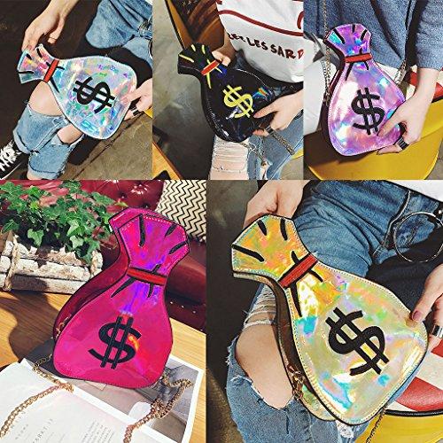 Bolso Jagenie Mujeres Hombro Del Holográfica Láser De Bolso Crossbody Oro Embrague De Oro Bordado Del Las Monedero De g5tnx5