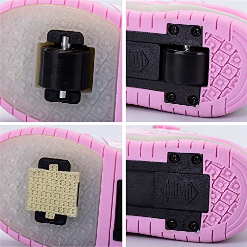 edv0d2v266 USB Charging LED Light up Roller Skate Shoes Double Wheel Flashing Sneakers for Boys Girls Kids(Pink 2 Wheel 1 M US Little Kid) by edv0d2v266 (Image #2)