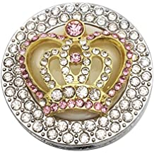 Crown Colorful Gem Round Shape Crystal and Rhinestone Folding Hanging Hook (Pink)