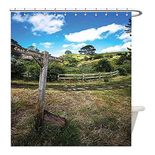 Vintage Costume Jewellery New Zealand (Liguo88 Custom Waterproof Bathroom Shower Curtain Polyester Hobbits Rustic Wooden Sign in Hobbit Land East West Farthing Movie Set New Zealand The Shire Decor Green Brown Decorative bathroom)