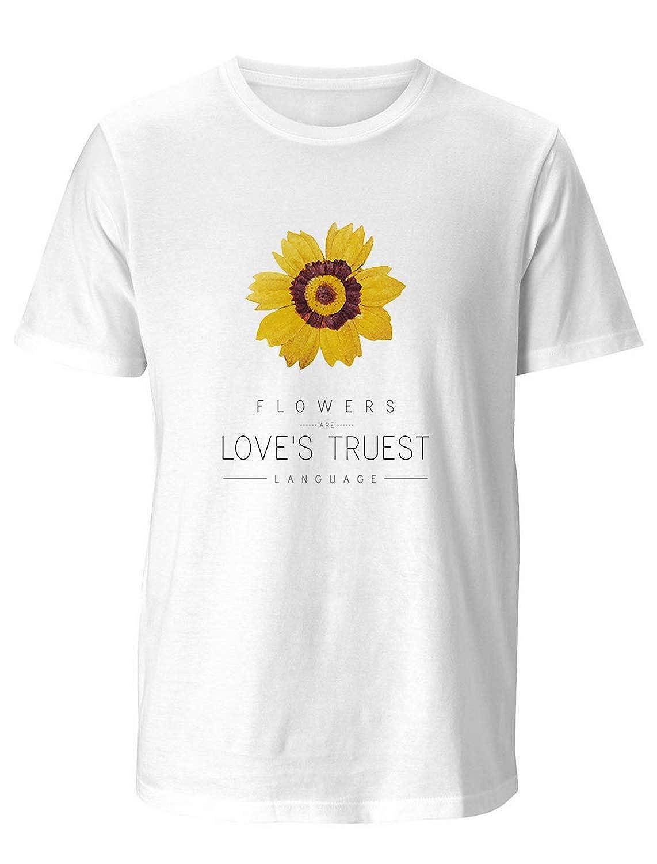 LEO BON Mens Crew Neck 3D Printed Short Sleeves T Shirt Rudbeckia Hirta