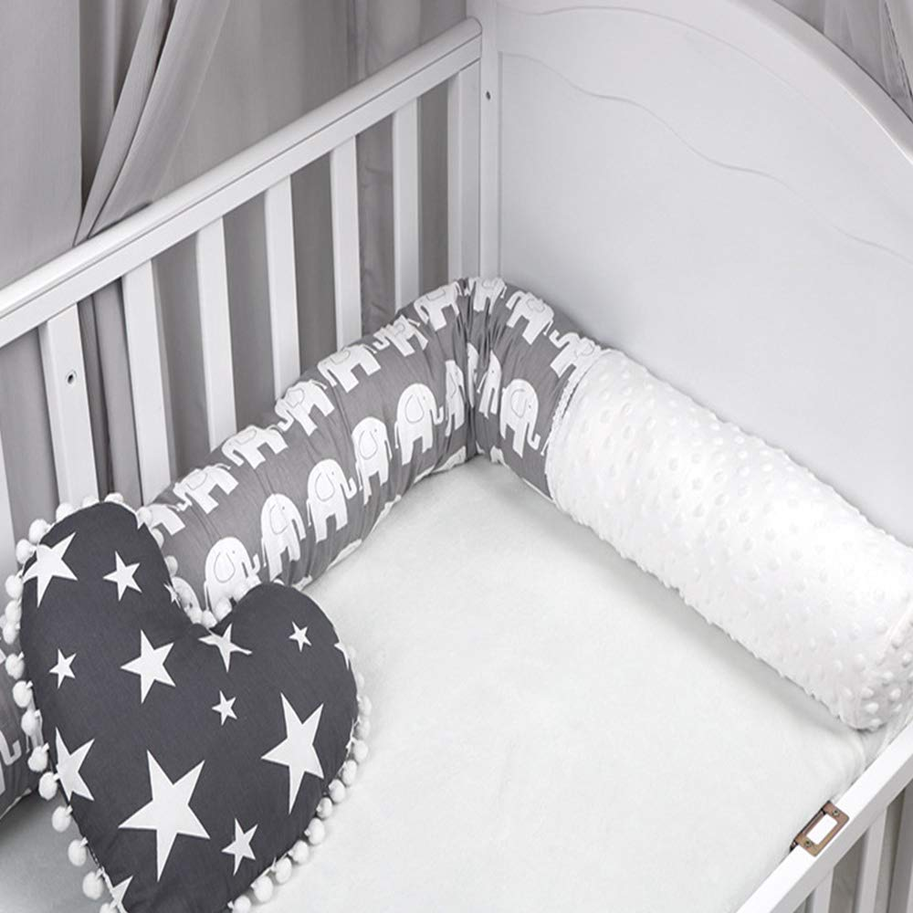BELUPAI Creative Baby Plush Crib Bumper Cartoon Pillow with Elephant Printed for Toddler
