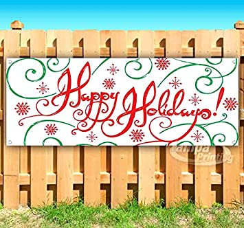 Happy Holidays 13 oz Banner Heavy-Duty Vinyl Single-Sided with Metal Grommets