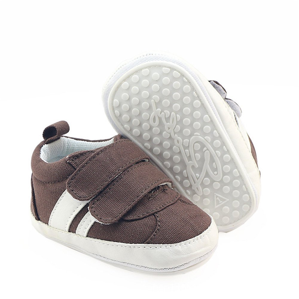 Isbasic Canvas Sneakers Shoes for Baby Boys Girls Toddler Non-Slip Rubber Sole Casual Infant Trainer (0-6 Months, Brown)