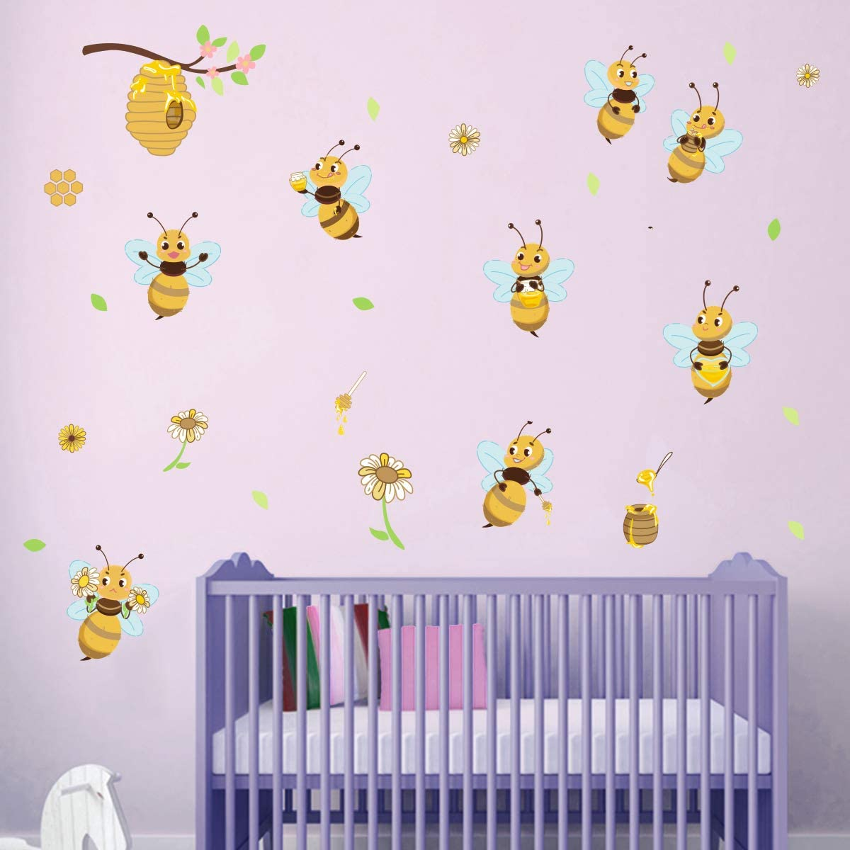 ufengke Yellow Bee Wall Stickers Flower Beehive Branch Wall Decals Art Decor for Kids Bedroom Nursery Playroom