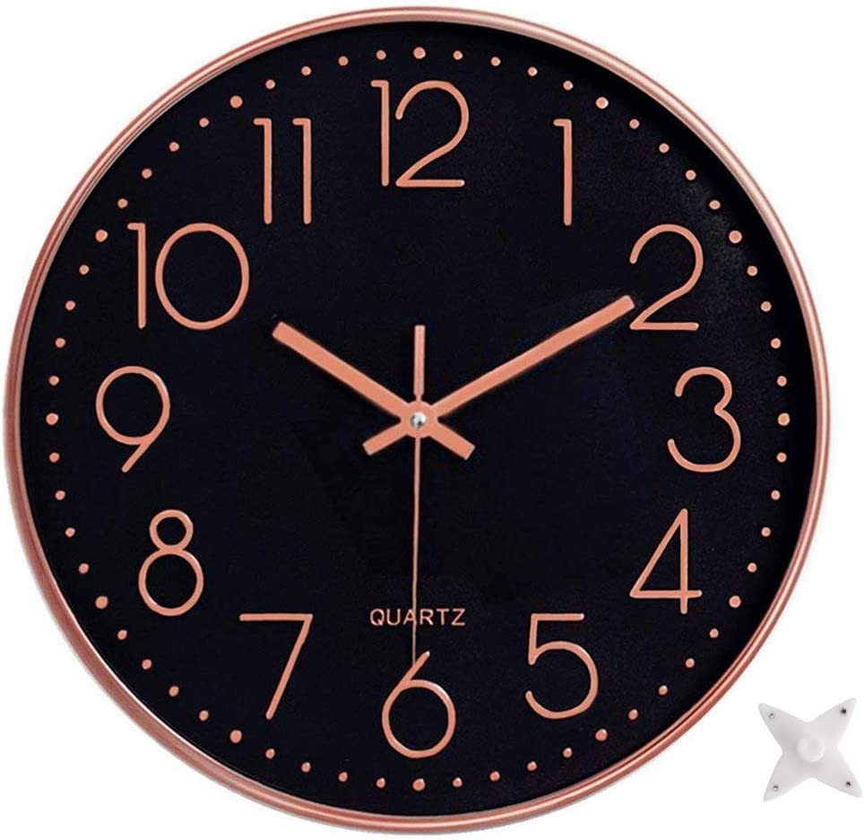 Ytaons 12 in Wall Clock Non-Ticking Quartz Silent Battery Operated Round Clocks Home Kitchen Office School Living Room Decor Clocks (Black-Rose)