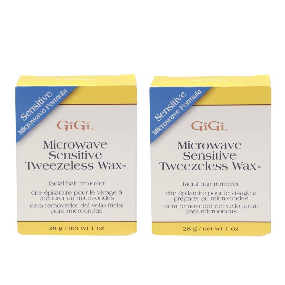 GiGi Sensitive Tweezeless Microwave Facial Hair Removal Wax, 1 oz x 2 pack