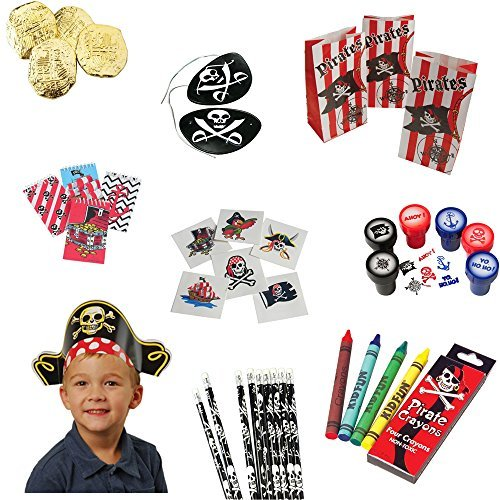 Pirate Toy Party Favor Supplies Set for 12 Bundle 300 Pieces Patches Hats Coins Tattoos by U.S. Toy