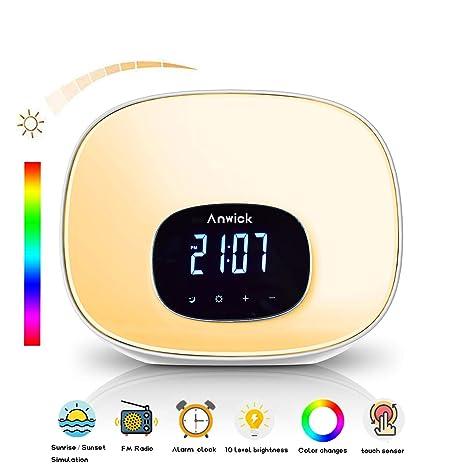 Wake Up Light, Despertador de Luz, con 7 Colores Ajustables ...