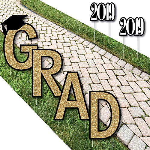 Big Dot of Happiness Gold Tassel Worth The Hassle - Grad Yard Sign Outdoor Lawn Decorations - 2019 Graduation Party Yard Signs - -