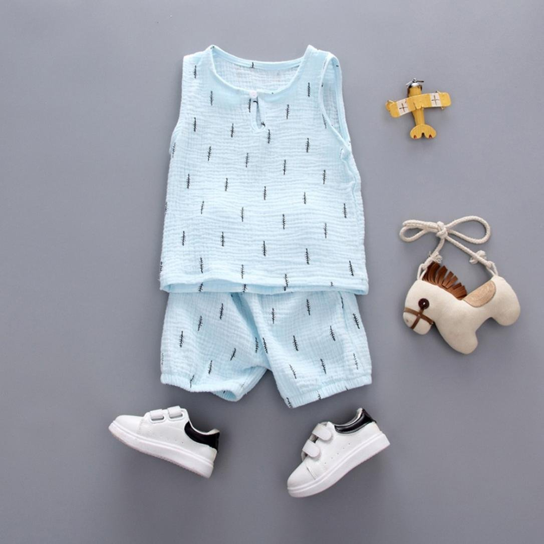 WARMSHOP Boys Girls Solid Leaves Print Sleeveless Casual Vest Tops+Shorts Pajamas Set Cotton Sleepwear Clothes