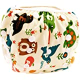 Eizur Babies Swimming Diaper Infants Adjustable Swim Nappy Reusable Washable Leakproof Swimming Shorts Cover Waterproof Breathable Watersport Swimwear Pants 12 Types Optional