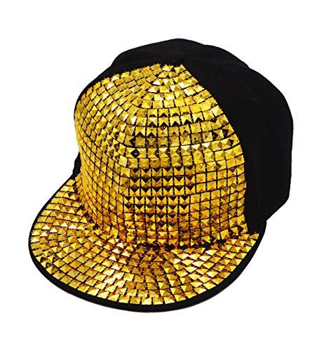 [Vegali Fashion Unisex Punk Rivets Diamonds Sequins Adjustable Hip Hop hat Baseball Cap Snapback Hat] (Leopard Cowboy Hat)