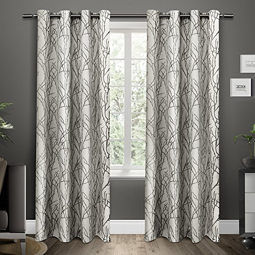 Exclusive Home EH7995-01 2-84G Branches Grommet Top Window Curtain Panels (Set of 2), 54″ x 84″, Black Pearl