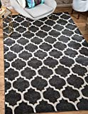Unique Loom Trellis Collection Black 5 x 8 Area Rug (5' x 8')
