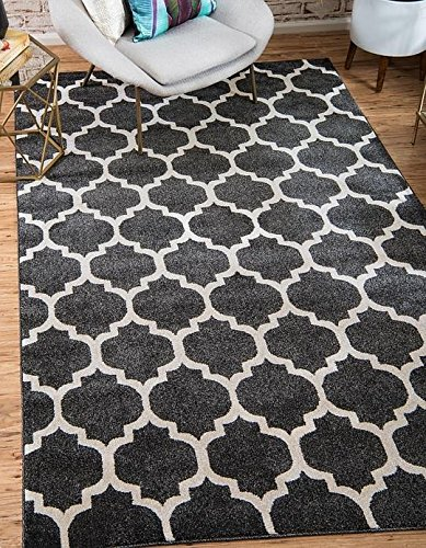 Unique Loom Trellis Collection Black 2 x 3 Area Rug (2' 2