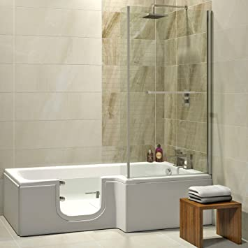 Duschkabine badewanne  Badewanne mit Tür, Seniorenbadewanne 170x85/70x53cm mit ...