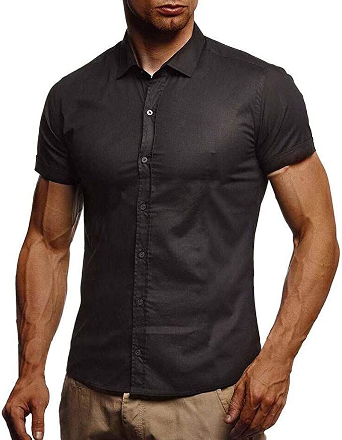 Mens Short Sleeve Button Down T-shirt Tops Slim Fit Casual Dress T Shirts Blouse