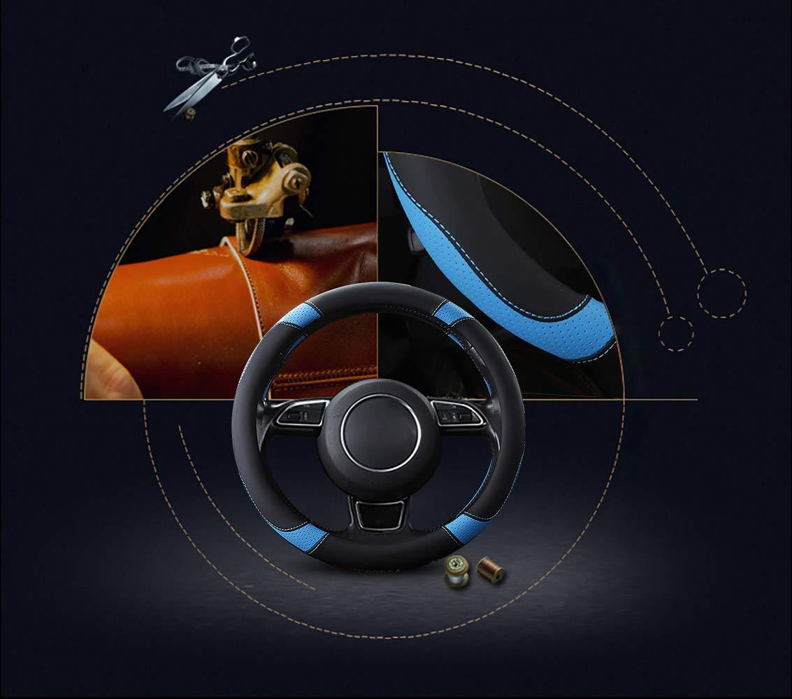 15 Antideslizante Transpirable Durable OFZVEO Cubierta del Volante Fundas para Volante de Cuero Universal 37-38cm Blanco
