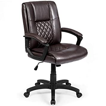 Terrific Giantex Mid Back Office Chair Pu Leather Ergonomic Adjustable Computer Desk Chair With Padded Armrest And Swivel Wheels Task Office Chair Chair Gmtry Best Dining Table And Chair Ideas Images Gmtryco