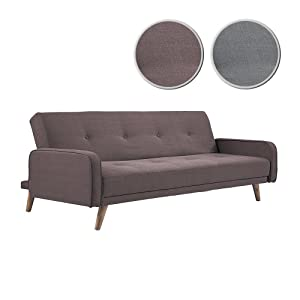 Adec - Sofá cama patas nordic modelo Nilsson, tapizado en tejido tex Chocolate, medidas: 198 x 85 cm fondo
