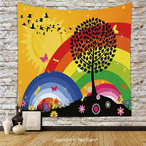 (FashSam Polyester Tapestry Wall Silhouette of a Tree on Hill with Sun and Two Rainbows Spring Time Flowers Decorative Hanging Printed Home)