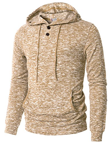 (H2H Men's Boardwalk Long Sleeve Knit Fashion Henley Hoody Desert US S/Asia M (CMTTL089))