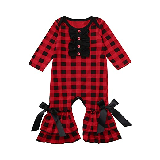 13c871045787 Amazon.com  Baby Infant Girls Spring Clothes Onesies Rompers 3-24 Months  Long Sleeve Plaid Print Ruffles Ruched Jumpsuits  Clothing