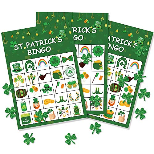St. Patrick's Day Shamrock Irish Bingo Game - Green Party Supplies for Kids 24 Player]()