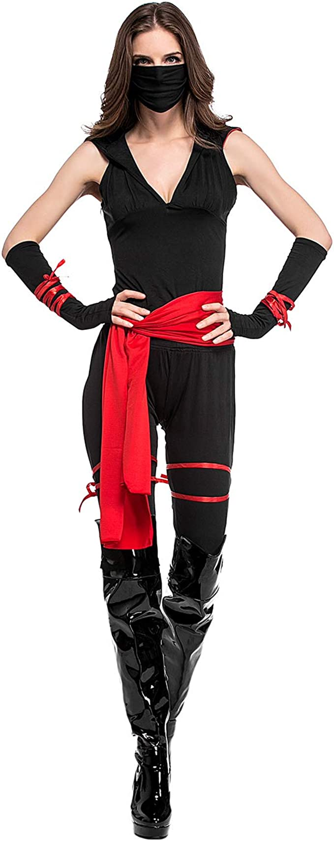 HDE Deadly Ninja Costume 8 Piece Womens Halloween Costume Adult Sized Trick or Treat Ninjutsu Outfit