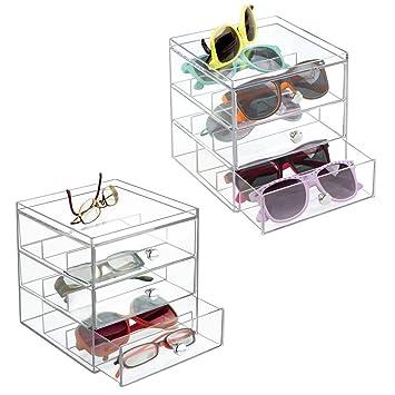 215f11a672 mDesign Juego de 2 apilable Organizador para gafas, gafas de sol, gafas de  lectura - 3 Cajones, transparente: Amazon.es: Juguetes y juegos