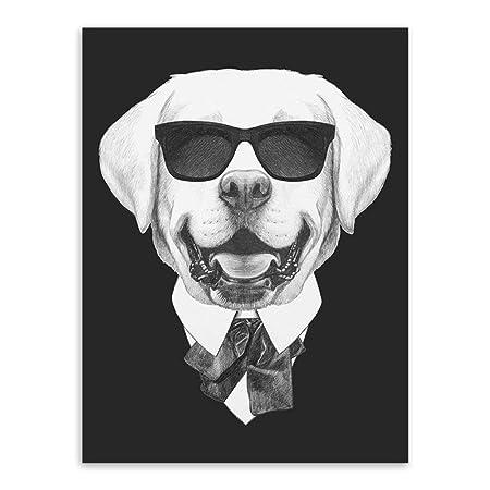 zxddzl Cartel de Gato de Perro Animal Hipster Blanco y Negro ...