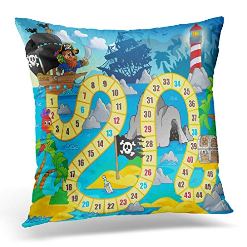 Golee Throw Pillow Cover Treasure Board Game 5 Cave Water Decorative Pillow Case Home Decor Square 18x18 Inches Pillowcase