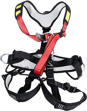 Alomejor Arnés de Escalada Cinturón de Seguridad de Cuerpo Completo con Aros de aleación y Malla Transpirable Forrada para Escalada en Roca al Aire ...